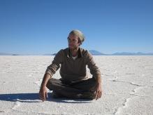 Grégory dans le Salar d'Uyuni