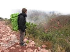 Grégory sur le chemin de l'Inca vers Chanaca