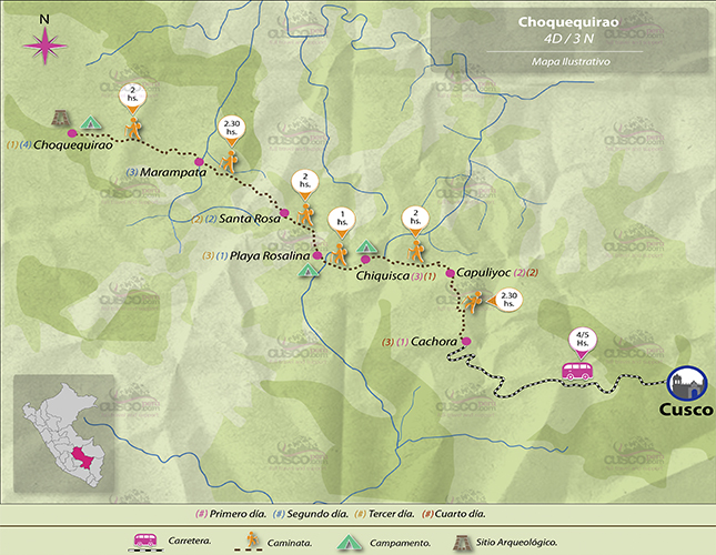 Carte du trek Choquequirao