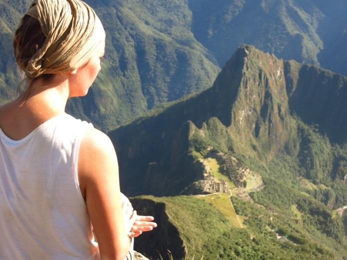 Caroline face au Machu Picchu