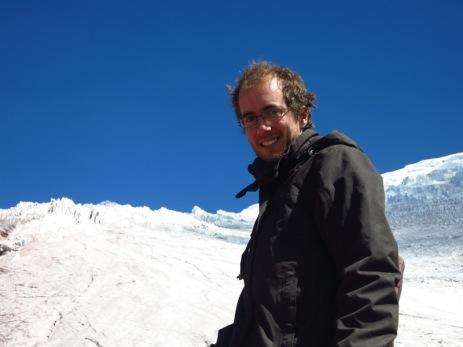Grégory devant le glacier du Cotopaxi