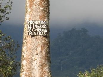 """""""Entrée interdite aux compagnies minières"""". Pancarte à l'entrée de la maison de Dona Rosario."""